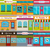 Store fronts and restaurants facades set. Set of different store fronts in flat style. Vector illustration of city public buildings square architecture Stock Photo