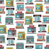 Store fronts seamless pattern - cafe, restaurant, market. Seamless texture. Vector illustration Royalty Free Stock Photo