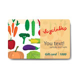 Store fruits and vegetables. Sale discount gift card. Royalty Free Stock Image