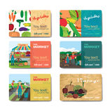 Store fruits and vegetables. Set of sale discount gift card Stock Image