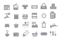 Store gray  icons. Set of 24 Store gray  icons Royalty Free Stock Photography