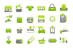 Store green-gray vector icons set. Set of 24 Store green-gray vector icons Stock Photography