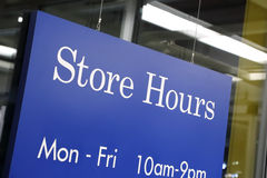 Store hours sign. In store royalty free stock photos