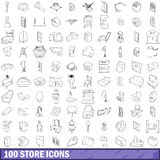 100 store icons set, outline style. 100 store icons set in outline style for any design vector illustration stock illustration