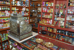 Store interior wirh vintage cash register Royalty Free Stock Images