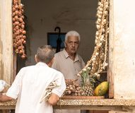Store keeper specializing in garlic talks to customer in window stock photo