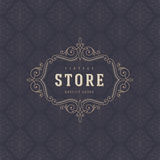 Store logo template with flourishes calligraphic ornament elements Stock Photo