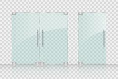 Store, Mall glass doors for market and boutique. Glass doors isolated on transparent background. vector illustration EPS 10 stock illustration
