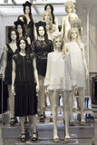 Store mannequins dressed in black and white boho dresses. Mannequins dressed in black and white bohemian style dresses, displayed in store Royalty Free Stock Image