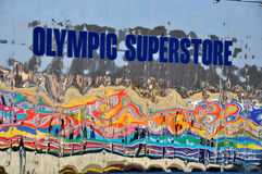 Store mirror wall at XXII Winter Olympic Games Royalty Free Stock Photo