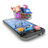 Store of mobile software. Smartphone apps icons in shopping cart. 3d Stock Image