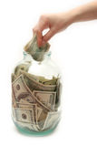 Store money in bank. 3 royalty free stock photos