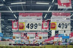Store new year price tags in the hypermarket royalty free stock photography