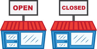 Store Open Closed Sign. Store with open and closed sign royalty free illustration