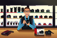 Store owner in a camera store. A vector illustration of store owner in a camera store vector illustration