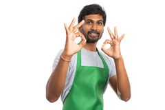 Store owner making approval gesture royalty free stock photos