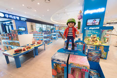 Store with Playmobil toys, Seoul. SEOUL - MARCH 29, 2017: Playmobil toys for sale at the Hyundai IPark mall. Playmobil is a line of toys produced in Germany royalty free stock image