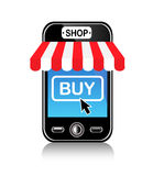 Store and purchase using a mobile phone Royalty Free Stock Photography
