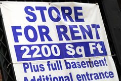 Store for rent sign. Concepts poor economy royalty free stock images