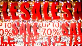Special offer banner with the red sale text gold bokeh blur background. Store sale sign. Special offer banner with the red sale text gold bokeh blur background royalty free stock image