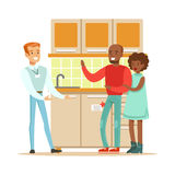 Store Seller Selling Kitchen Set To Couple, Smiling Shopper In Furniture Shop Shopping For House Decor Elements. Cartoon Characters Looking For Home Interior Royalty Free Stock Photo