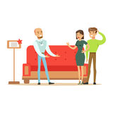 Store Seller Selling Red Sofa To Couple, Smiling Shopper In Furniture Shop Shopping For House Decor Elements. Cartoon Characters Looking For Home Interior Stock Photography
