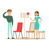 Store Seller Showing Chair Assortment To Man, Smiling Shopper In Furniture Shop Shopping For House Decor Elements. Cartoon Characters Looking For Home Interior Royalty Free Stock Photo