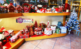 Store selling decorative Christmas ornaments Athens Greece Stock Photos