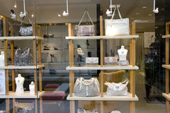 Purse and shoe store. Store selling designer purse and shoes stock image