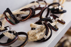 The store selling different leather bracelets. With clasp royalty free stock image