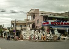 Store selling stone sculptures in a small town near Da Nang, Vietnam royalty free stock images