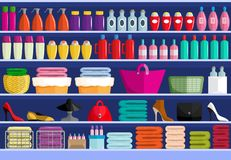 Store shelves with assortment of goods. And various products, vector illustration Royalty Free Stock Images