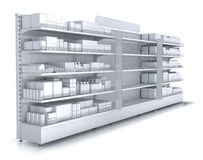 Store shelves with empty department for your goods. 3d illustration set isolated on white stock illustration