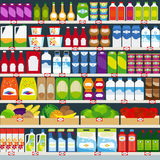 Store shelves with groceries background Stock Images