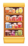 Store shelves with jam Stock Image