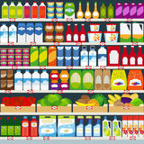 Store shelves with products. Store shelves with dairy products, fruits and household chemicals. Vector illustration vector illustration