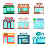 Store and shop buildings flat icons set Royalty Free Stock Images