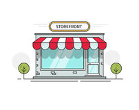 Store or shop front view vector illustration, cartoon line outline storefront on street isolated. On white background Stock Image