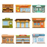 Store shop front window buildings icon set flat isolated. Vector illustration Royalty Free Stock Photos