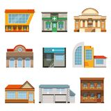 Store shop front window buildings icon set flat. Vector illustration Stock Images