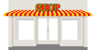 Store showcase. Facade of  shop building. Storefront with stripe Royalty Free Stock Images