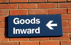 Store sign. Goods Inward sign. Royalty Free Stock Photo