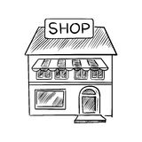 Store sketch with shop signboard Stock Image