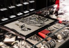 The store of the Spanish firm of jewelry and costume jewelry UNOde50 on the central square of the capital. stock images