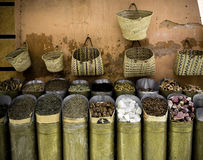 Store species. Photography shop in Marrakech with various seasonings Stock Photos