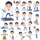 Store staff Blue uniform men_Sports & exercise royalty free illustration