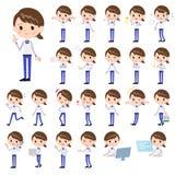 Store staff Blue uniform women_1 vector illustration