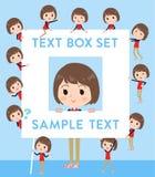 Store staff red uniform women_text box Stock Photos