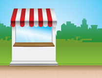 Store with striped awning. Illustration Stock Photo