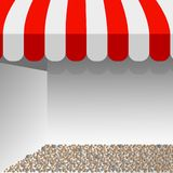 Store striped awning. illustration of red and white tent vector layout with space for your text. vector illustration